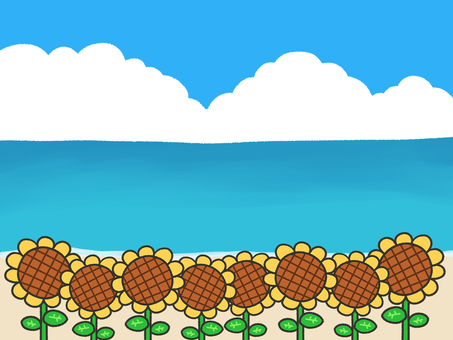 Sunflower field and sea, blue sky background