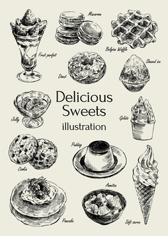 Illustration of delicious sweets