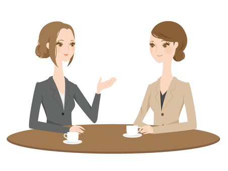 Women in suits to make tea