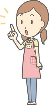 Nursery woman - finger-pointing diagonal left - whole body