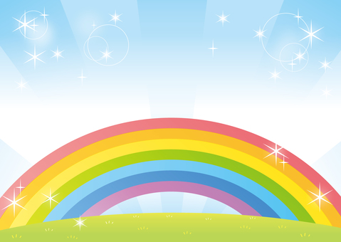 Rainbow and sky POP background material