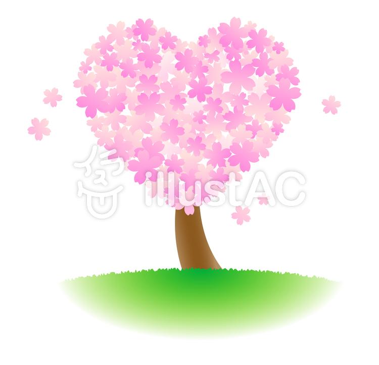 ハート型の桜の木イラスト No 673452無料イラストならイラストac