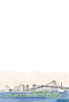 도쿄 황혼 엽서 (투명) 세로