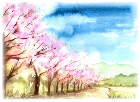 Cherry blossom lake landscape painting