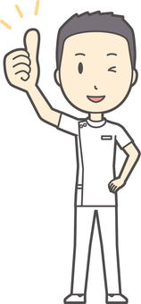 Male nurse short hair - 039 - whole body
