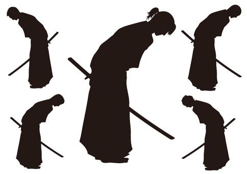 Samurai silhouette set material 3