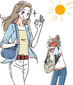 夏の対策・対照的な女性