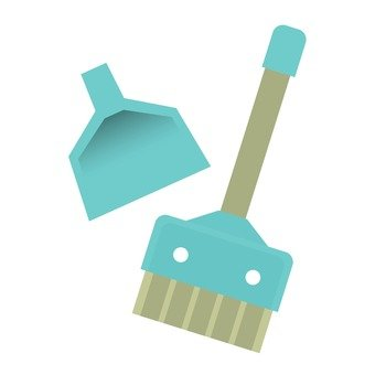 A broom and a dust, light blue