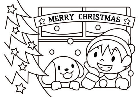 A4聖誕節繪畫 - 男孩