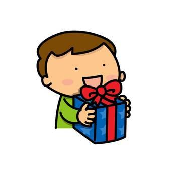 A boy gets a present