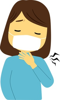 A woman with sore throat