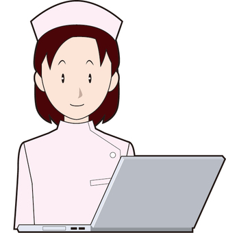Laptop PC and female nurse