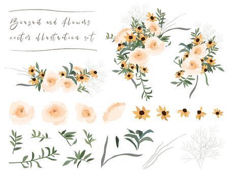 Bouquet & Flower Illustration Set 01