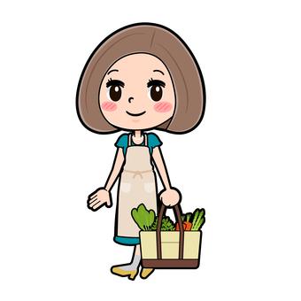 Green dress young woman shopping walk