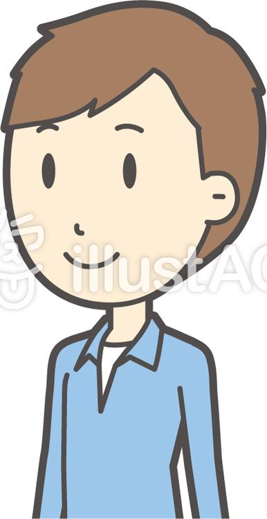 ブルー襟シャツ男性-357-バストのイラスト