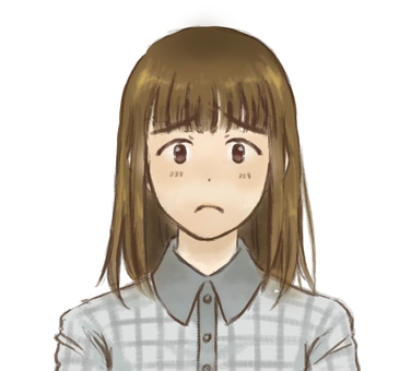 A girl with a crying face