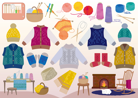Knitting image material set