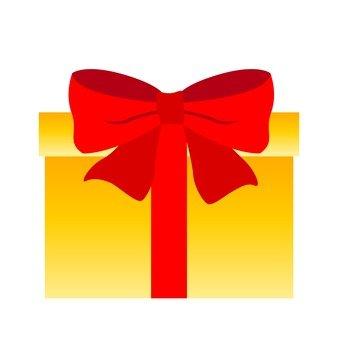 노란색 상자에 빨간 리본 선물