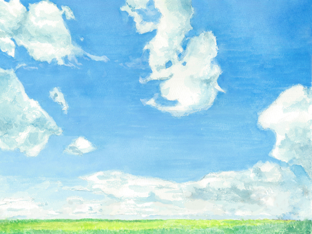 Watercolor horizon and blue sky
