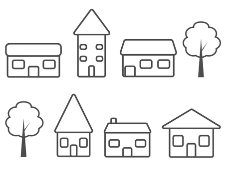 House and tree icon set