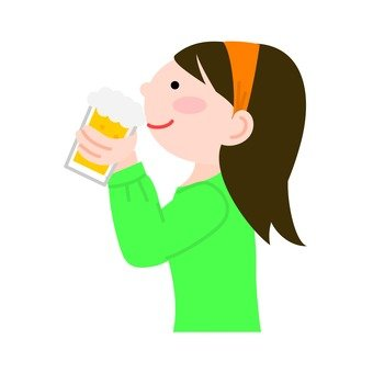 A woman with a beer mug