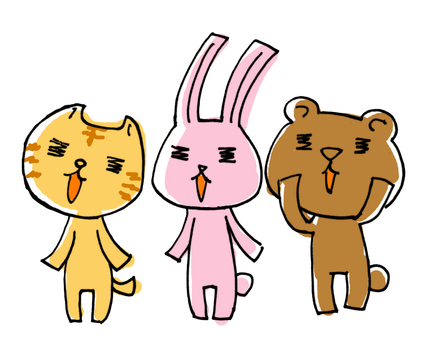 Cat and rabbit and bear