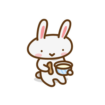 Mr. Usagi eating cup ice cream