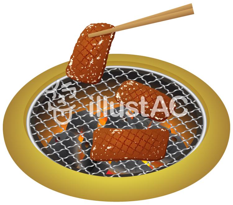 こんがり焼けた焼肉_箸で持つのイラスト