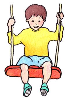 A boy who plays swings