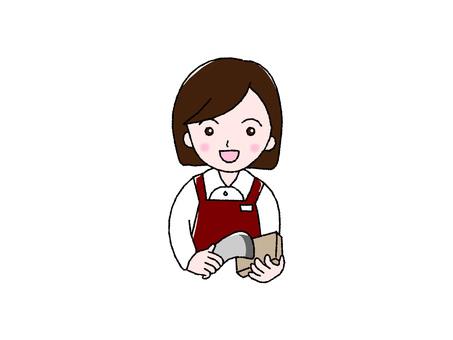 Saleswoman scanning (female, red, okappa)