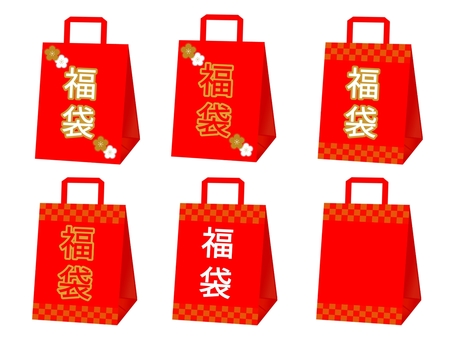Lucky bag with checkered pattern and lucky bag with plum pattern