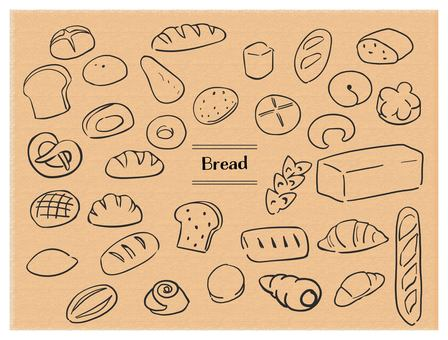 Hand-drawn bread black line