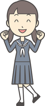 Junior high school sailor woman -139-whole body