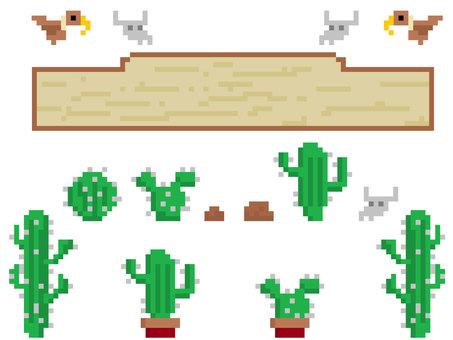 Pixel art pixel cactus material set