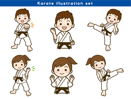Karate illustration set
