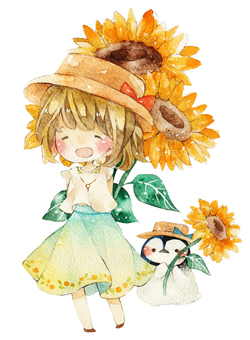 Sunflower and penguin and girl