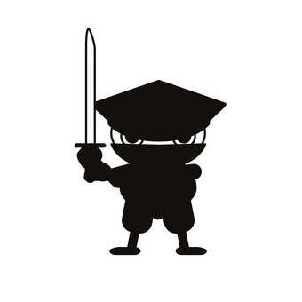 A black ninja who holds a sword (deformed) (2)