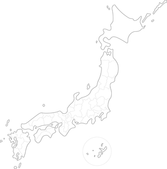 White background map Japanese prefecture
