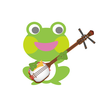 샤미센을 연주하는 개구리