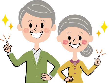 Senior pair upper body pointing