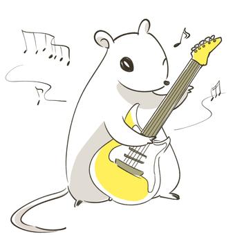 一隻老鼠在彈吉他