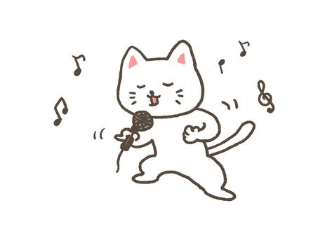 A cat playing karaoke