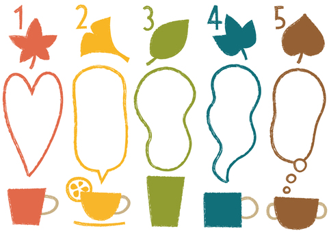 Cup, leaves, numbers and speech bubbles