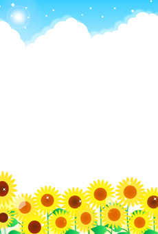 Sunflower in full bloom and blue sky illustration