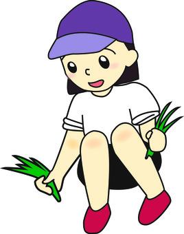 Girls weeding grass