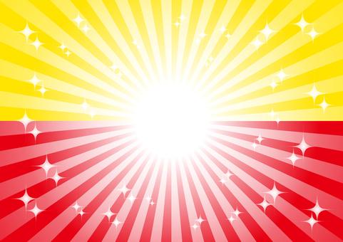 노란색과 빨간색 광선 반짝 배경 소재