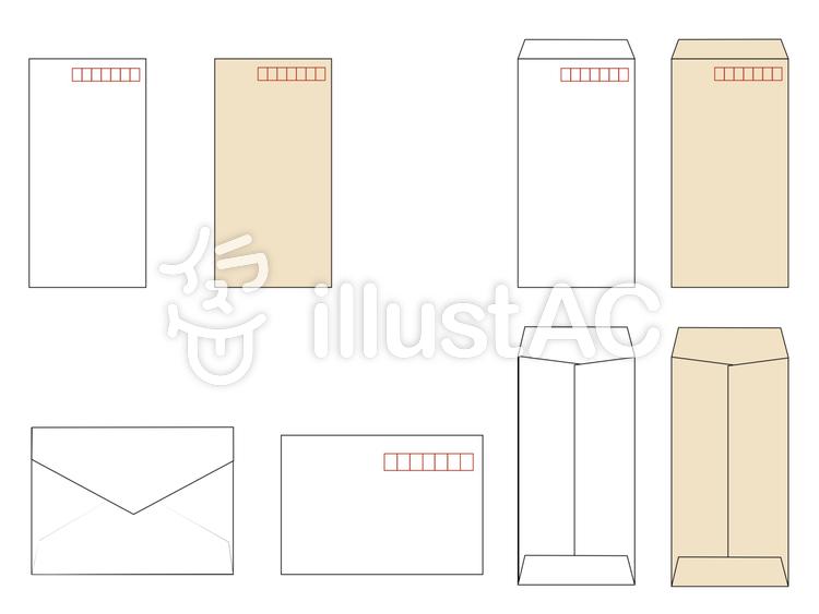 白と茶色の封筒、表裏のイラスト