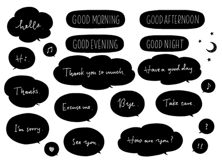 English phrases and speech bubbles