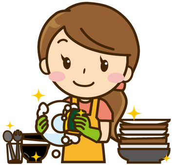 A woman washing dishes
