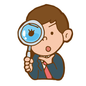 Magnifying glass and office worker